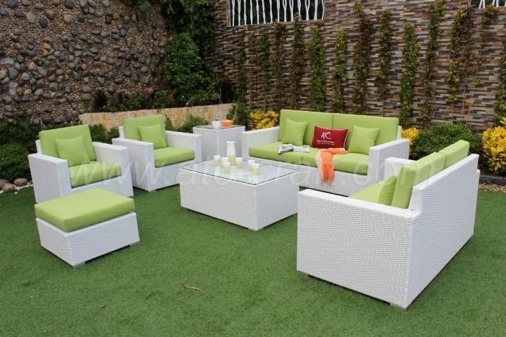 Miraculous Green Cushion White Wicker Sofa Set Rasf 008 Atc Furniture Uwap Interior Chair Design Uwaporg