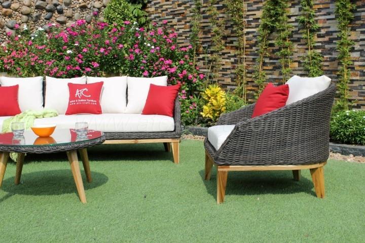 New Design Modern Poly Rattan Sofa Set Acacia Wooden Legs ...