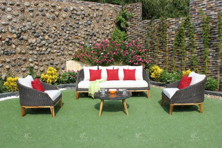 Poly rattan all weather sofa set RASF-091