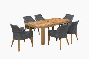 Deep Seating Wicker Dining Set And Wood Table
