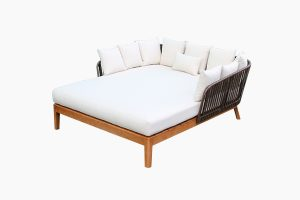 Deep Seating Rattan Wooden Bed