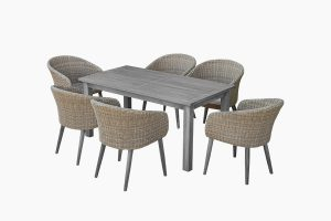 Deep Seating Garden Wicker Dining Set And Wooden Table