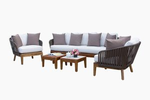 Outdoor Wicker Sofa Set Double Wooden Tables
