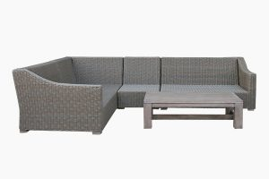 Synthetic wicker sofa set without cushion
