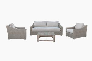 Maintain outdoor poly rattan teak wood sofa set