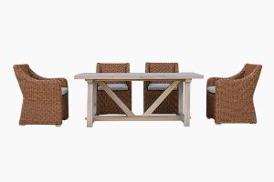 Patio wicker furniture dining set teak table