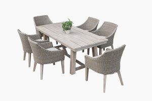 PE wicker dining set with wooden table