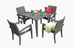 Patio outdoor poly rattan dining set