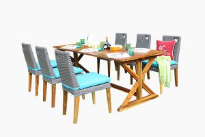 Poly water hyacinth rattan dining set and wood table