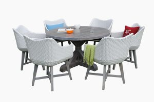 Outdoor poly wicker round dining set