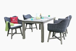 Poly wicker dining set and wood table