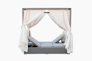 Rattan garden sunbed lounger