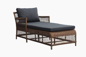 Rattan metal outdoor sun lounger