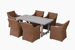 Outdoor wicker dining set and wood table