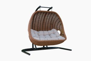 Weather resistant metal frame rattan patio hanging chair