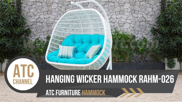 White hanging wicker hammock loveseat outdoor RAHM-026 2018