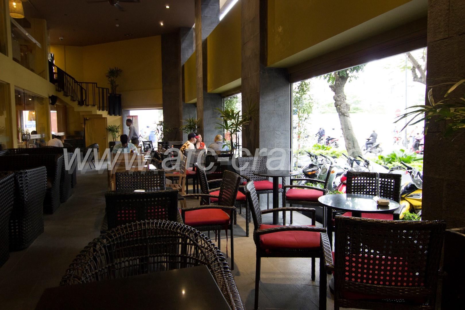 Highlands Coffee indoor area wicker chairs