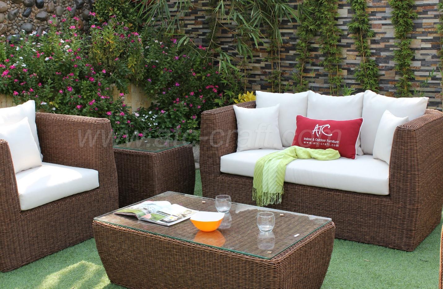 Dark brown outdoor wicker sofa set
