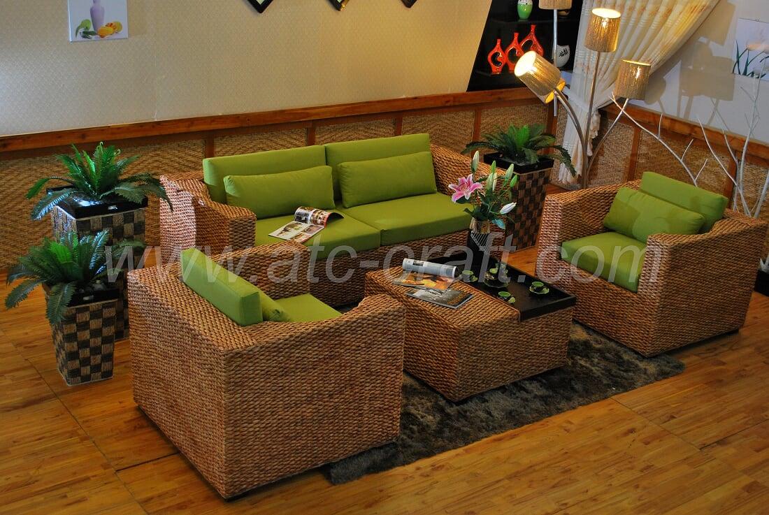 Super Unique Water Hyacinth Wicker Sofa Set Wais 303 Atc Furniture Ncnpc Chair Design For Home Ncnpcorg