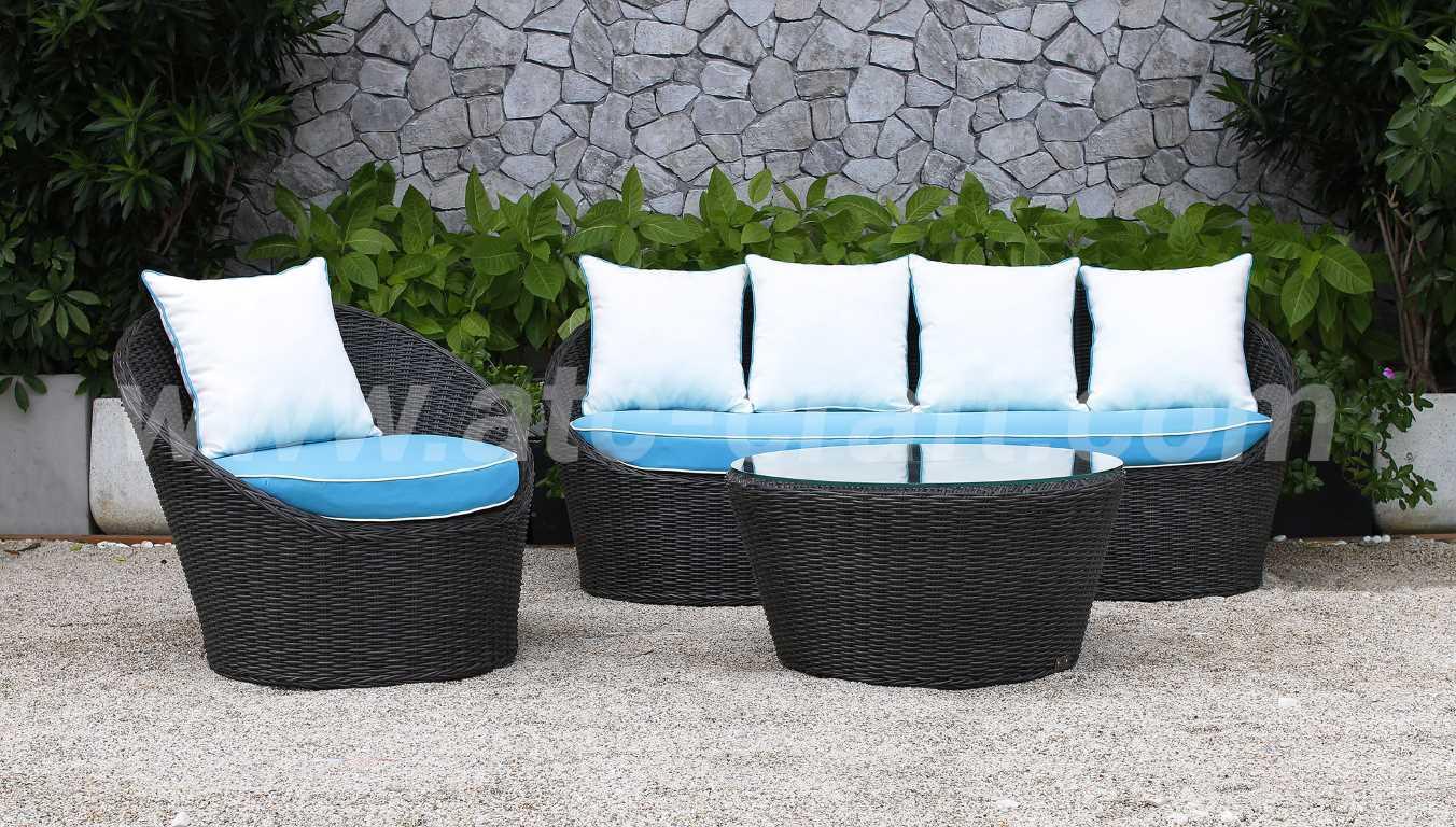 Merveilleux Blue Sea Inspired Space Saving Rattan Sofa Set RASF 014 Style 4
