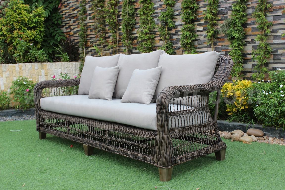 Modern Outdoor Round Pe Poly Wicker Sofa Set Rasf 121