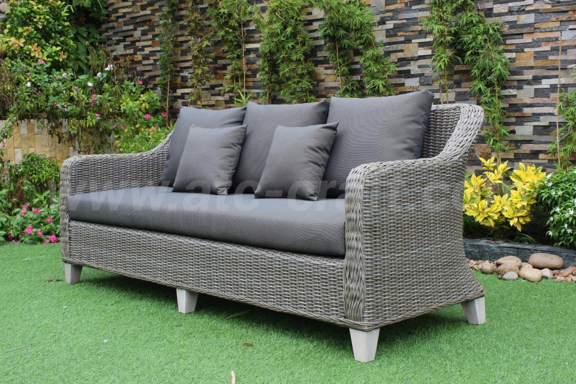 Outdoor 4 Piece Half Round Poly Rattan Furniture Sets Rasf