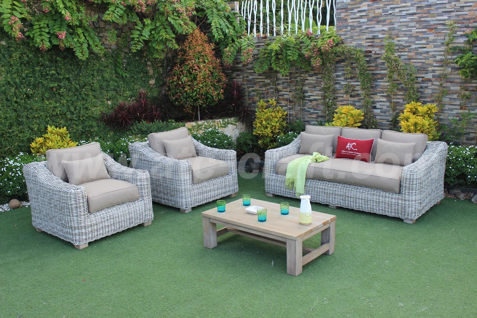 Elegant Casual Outdoor Sofa Set for Garden Living RASF-197 ... on Patio Living Room Set id=52900