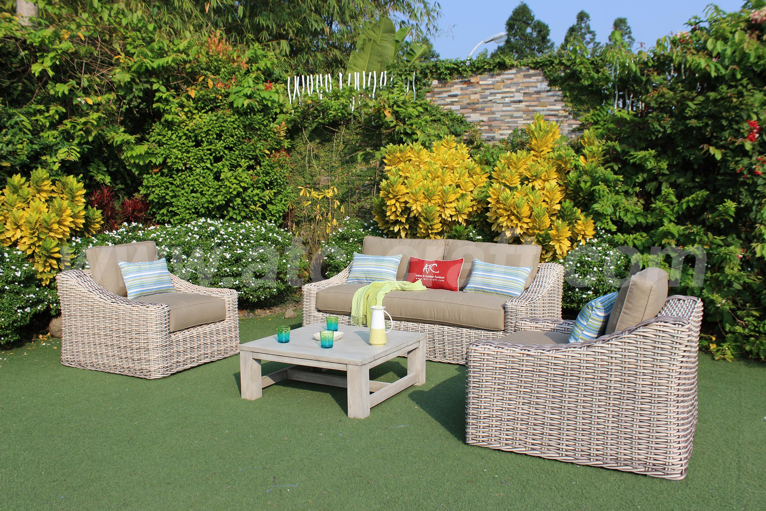 Outdoor casual wicker sofa set SIGMA rattan RASF-196   ATC ...